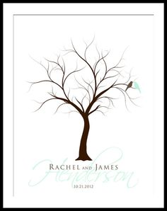 Thumb Print Wedding Tree Guest Book Poster Print by YourKeepsakeCo, $50.00