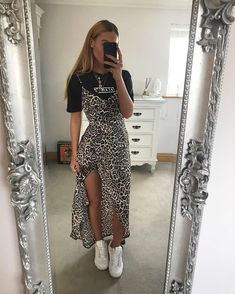 Leopardprint Side Split Maxi-Dress Multi, About Leopardenmuster Side Split Maxi-Kleid Multi Pin You can easily u Mode Outfits, Trendy Outfits, Fall Outfits, Sporty Outfits, Summer Fashion Outfits, Fashion Dresses, Looks Street Style, Looks Style, Feminine Mode