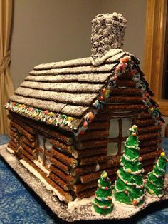 pretzel log cabin - love this idea as a unique alternative to a gingerbread house log cabins, ginger bread house, pretzel crafts, gingerbread houses, ...