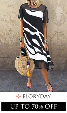 Color Block Tunic Round Neckline Midi Shift, Dress - Black / S Women's Fashion Dresses, Casual Dresses, Midi Dresses, Summer Dresses, Stylish Dresses, Vestidos Sexy, Tunic Pattern, Affordable Dresses, Buy Dress