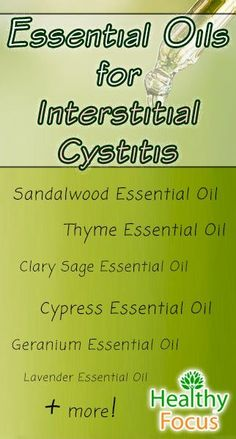 Some useful Essential Oils for Interstitial Cystitis are sandalwood, Juniper, cypress, sage and lavender essential oil. Diet and home remedies can also help