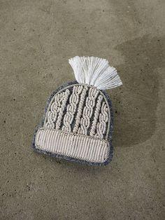 Hand Embroidered Ski Hat Brooch