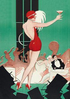 1920s Flapper Dance Girl Vintage Poster Print from Vintage Venus