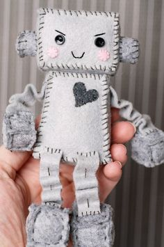 Snarky Little Felt Robot Plush by GinnyPenny on Etsy, $25.00
