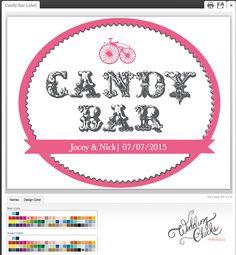 Custom candy bar sign for your wedding.  http://www.weddingchicks.com/freebies/wedding-signs-labels/custom-candy-bar-label