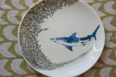 SINGLE Shark Saucer with School of Fish