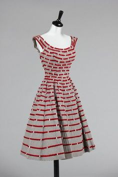 Ceil Chapman ribbon trimmed and beaded gingham cocktail dress, 1950 love!!