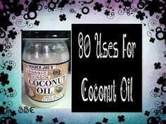 Click **Share** to *Save* this Awesome Recipe to your Timeline!  I love Coconut oil and used for a few things... Never thought of most of these..  80 Uses for Coconut Oil   Personal Hygiene/Body 1. Moisturizer – simply scoop some out of the jar and apply all over your body, including neck and face. 2. Eye cream – apply under the eyes to reduce puffiness, bags, and wrinkles. Use on the lids in the evening. 3. Preshave – coconut oil will prep skin for the pending damage caused by shaving. 4…