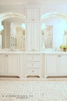 Cabinetry, fixtures, sconces and the mirrors | M. E. Beck Design, Inc. | mebeck.com