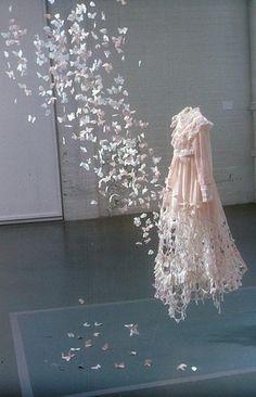butterfly dress art installation