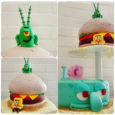 spongebob cake octo and plankton cake
