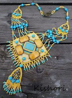 Купить Колье «Персидский ковер» - желтый, голубой, бирюза, бирюзовый, медь, медный, восток, восточный