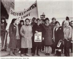 Yorkshire women picketing Treeton colliery, winter 1984.