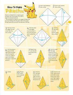47 Ideas Origami Pokemon Passo A Passo For 2019 Instruções Origami, Geometric Origami, Cute Origami, Paper Crafts Origami, Origami Design, Origami Ladybug, Origami Pokemon, Origami Swan Instructions, Origami Flowers Tutorial