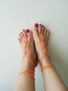 Orange  color  with orange beads Barefoot by ArtofAccessory, $15.00