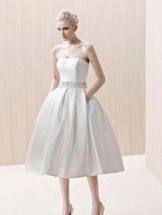 A-line Strapless Sleeveless Zipper Pockets Tea-length Wedding Dress at Millybridal.com