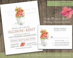 Printable Wedding Invitation Set  Whimsical by NotedOccasions, $35.00