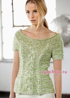 Светло-зеленый меланжевый пуловер с косами. Вязание спицами
