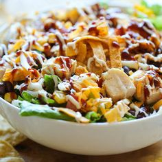 BBQ Chicken Salad: Great for lunch or a first course for dinner! Look at all those colors and flavors!
