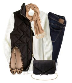 """""""Camel scarf, Black vest & Leopard flats"""" by steffiestaffie ❤ liked on Polyvore featuring American Eagle Outfitters, J.Crew and Charlotte Russe"""