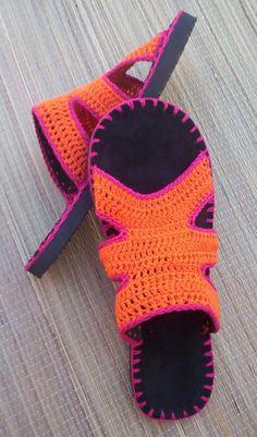 Orange and Fuchsia Crocheted SANDALS - Boho hippie shoes - CUSTOM MADE. $62.00…