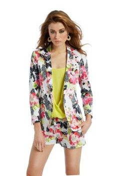 Pretty little floral blazer! Black Hibiscus Jacket | GUESS by Marciano