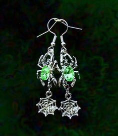 50% SALE Witch Earrings..Halloween Earrings..Halloween Jewelry..Green Spider Web Earrings..Green Witch Costume Jewelry..Light Green Earrings by UniqueTrinkets4u on Etsy