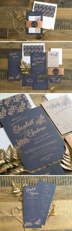Rustic Chic Wedding Invitations Rustic Wedding Invitations in Navy. Navy Wedding Invitations, Wedding Invitation Inspiration, Rustic Invitations, Wedding Stationary, Invitation Fonts, Invitation Ideas, Laser Cut Invitation, Invitations Online, Invitation Templates