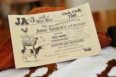 Invitation for an Antique Vintage Farm birthday Party via Kara's Party Ideas |