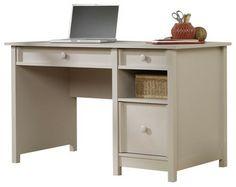 Sauder Original Cottage Desk in Cobblestone - Transitional - Desks - Cymax Home Office Space, Home Office Desks, Transitional Desks, Sauder Woodworking, Desk Cabinet, Big Desk, Cottage, Nebraska Furniture Mart, Writing Desk
