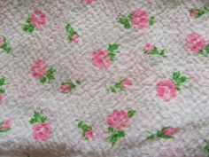#VintageSeersucker Fabric 1950's Pink Roses Cotton 3 Yards NOS #Unbranded