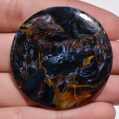 75.10Cts100% NATURAL FINE QUALITY CHATOYANT PIETERSITE ROUND CAB LOOSE GEMSTONES #handmade