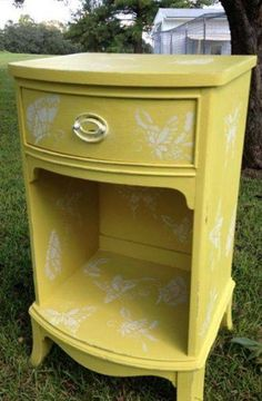Chinoiserie Butterflies Furniture Stencil | English Yellow and Pure White Chalk Paint® decorative paint | Project by Sweet South Cottage