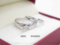 2pcs Free Engraving Diamond rings Wedding Couples by PRORINGS