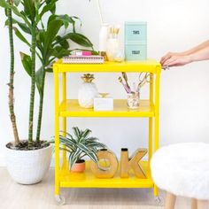 A simple DIY to clean up an old metal rolling cart and give it a new purpose in life!