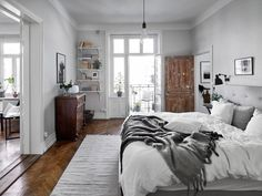 Bedroom with an unfinished door