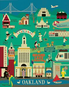 Oakland, California Landmark Collage - East Bay Historic Vertical Poster Art for Home, Office, Nursery and Kid's Rooms - style home town :-) Cities, Office Prints, Oakland California, Northern California, Art Deco Posters, East Bay, Baby Art, Vintage Travel Posters, Sketches