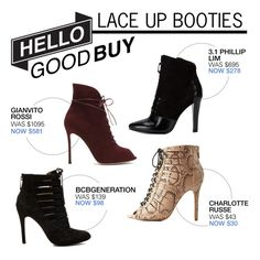 """""""Hello Good Buy: Lace Up Booties"""" by polyvore-editorial ❤ liked on Polyvore featuring Charlotte Russe, 3.1 Phillip Lim, Gianvito Rossi, BCBGeneration and HelloGoodBuy"""