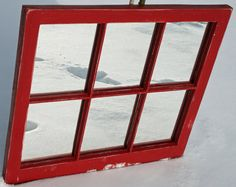 Vintage Red Mirror Window Frame by DejaVuHome on Etsy Old Window Frames, Window Mirror, Recycled Mirrors, Red Mirror, Bothy, House On A Hill, Old Doors, Red Accents, Bathroom Styling