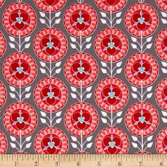 Riley Blake Desert Bloom Medallion Gray from @fabricdotcom  Designed by Amanda Herring for Riley Blake Designs, this beautiful modern collection features rich hues and on-trend themes, perfect for any quilt, apparel, or home decor project. Colors include red, pink, grey, white, and blue.