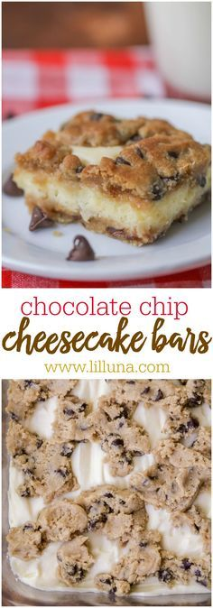 Cheesecake Chocolate Chip Cookie Bars - Gooey and delicious! Recipe has cream cheese, chocolate chips and cookie dough - what more could you want?!
