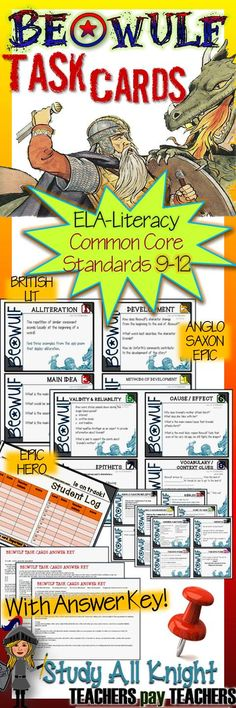 Beowulf: Task Cards for Your Classroom Literary Terms , Anglo Saxon, Epic Poem High School Literature, Ap Literature, British Literature, High School Classroom, English Classroom, Education English, Teaching English, Teaching History, Teaching Resources