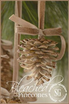 Christmas DIY: give pinecones a bea give pinecones a beautiful bleached look so easy christmas decorations crafts seasonal holiday decor Decoration Christmas, Noel Christmas, Rustic Christmas, Winter Christmas, All Things Christmas, Christmas Ornaments, Pinecone Ornaments, Homemade Christmas, Stone Gable Christmas