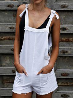 Rompers Casual Belted Off-Shoulder Bare Back Sleeveless Romper Short Jumpsuit, Casual Jumpsuit, White Jumpsuit, Jumpsuit Dress, Older Women Fashion, Womens Fashion, Fashion Hair, Fashion Trends, Bermudas Shorts