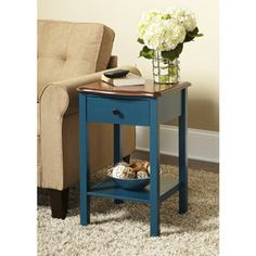 10 Spring Street Hinsdale Side Table, Deep Teal..Paint his parents bedside table to match powder blue in bedspread for Bedroom only use 1 table (on my side)