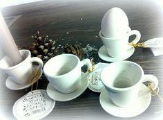 4 KERZENHALTER Tassen Eierbecher Porzellan  WEIß - Ohne Kerzen WEIHNACHTEN SANTA