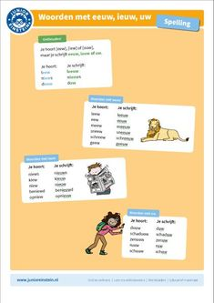 Deze uitlegkaart kan je helpen bij het oefenen met woorden met -eeuw, -ieuw en -uw. Je hoort -eew, -iew en -uuw maar je schrijft -eeuw, -ieuw en -uw. Met behulp van de voorbeeldwoorden kun je de klank nog beter onthouden. Door de afbeeldingen is de kaart niet alleen leerzaam maar ook nog eens leuk.