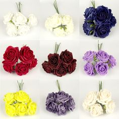 LARGE Bunch of 5 Premium Soft Foam Roses! Artificial Flowers in 9 Colours!