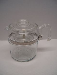 Vintage Pyrex Flameware Coffee Percolator, Coffee Pot, 6 Cup or 9 Cup, 7759, Missing Basket Cover by GandTVintage on Etsy