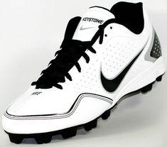 separation shoes 95f70 dd23e Mens Nike Keystone Low Molded Baseball Softball Cleats Size 10 White Black
